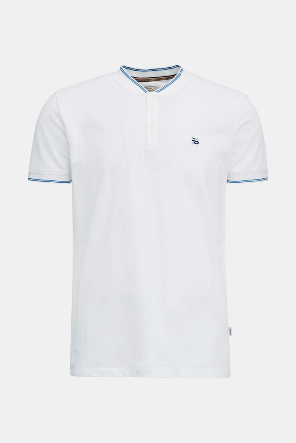 Piqué polo shirt with a stand-up collar, WHITE, detail image number 6