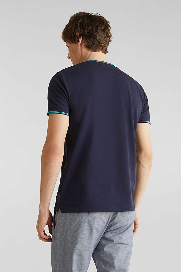 Piqué polo shirt with a stand-up collar, NAVY, detail image number 3