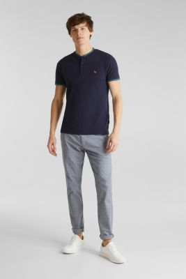Piqué polo shirt with a stand-up collar, NAVY, detail