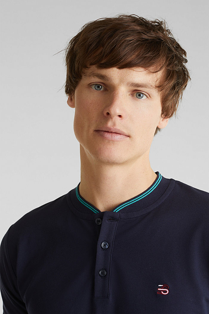 Piqué polo shirt with a stand-up collar, NAVY, detail image number 5