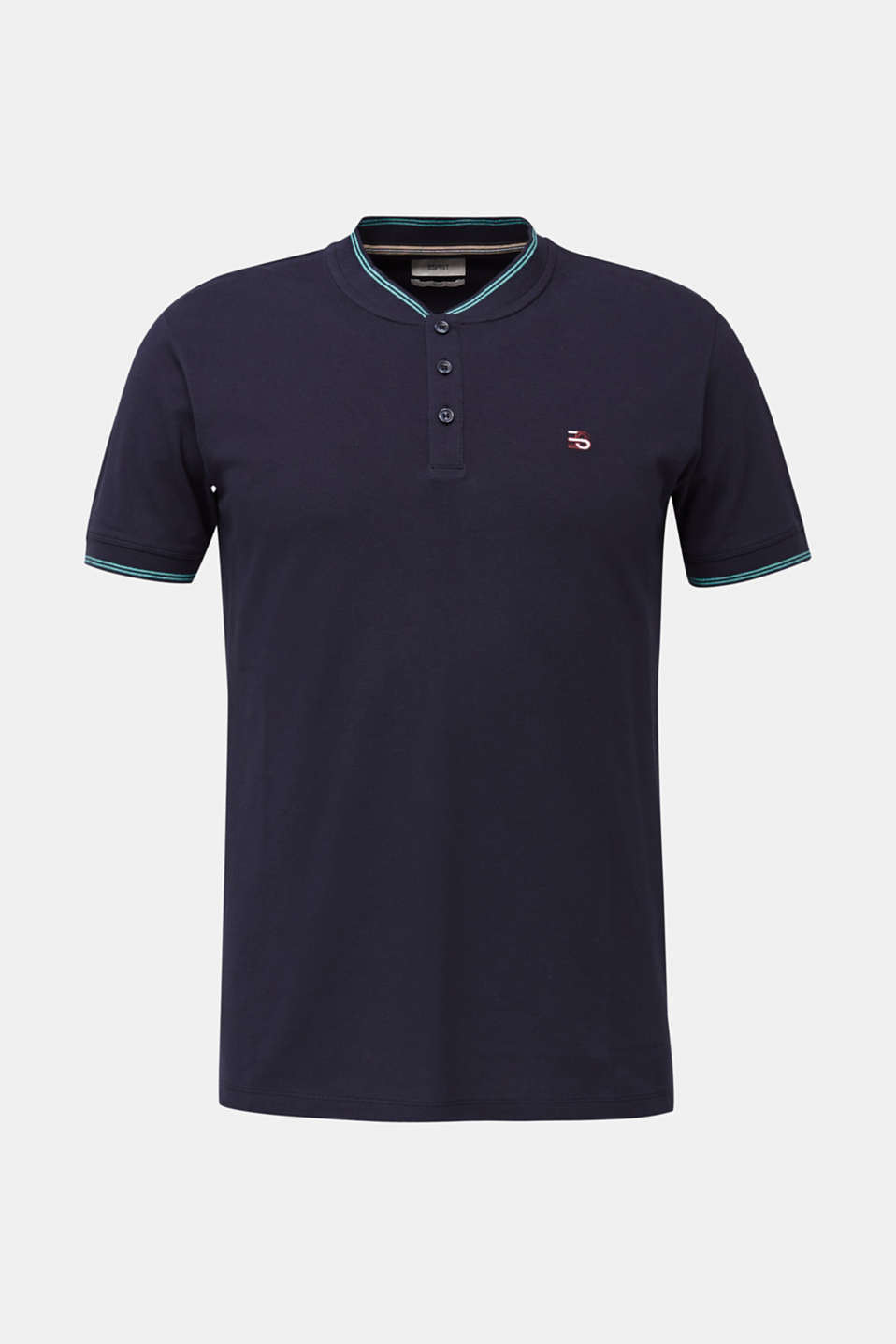 Piqué polo shirt with a stand-up collar, NAVY, detail image number 6