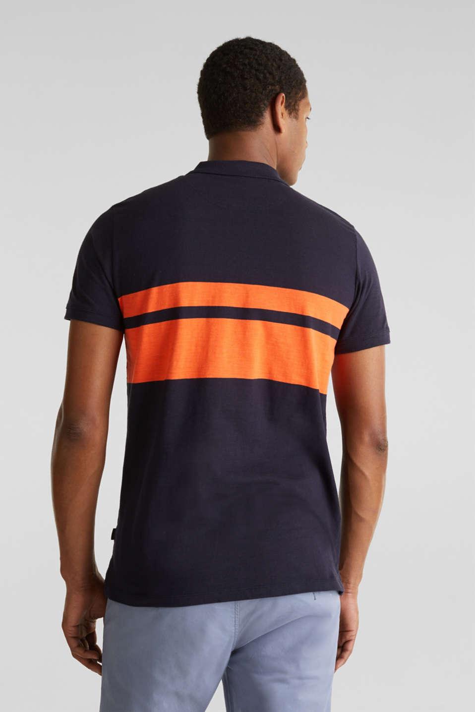 Slub polo shirt with stripes, 100% organic cotton, NAVY 3, detail image number 3