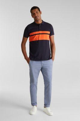 Slub polo shirt with stripes, 100% organic cotton, NAVY 3, detail