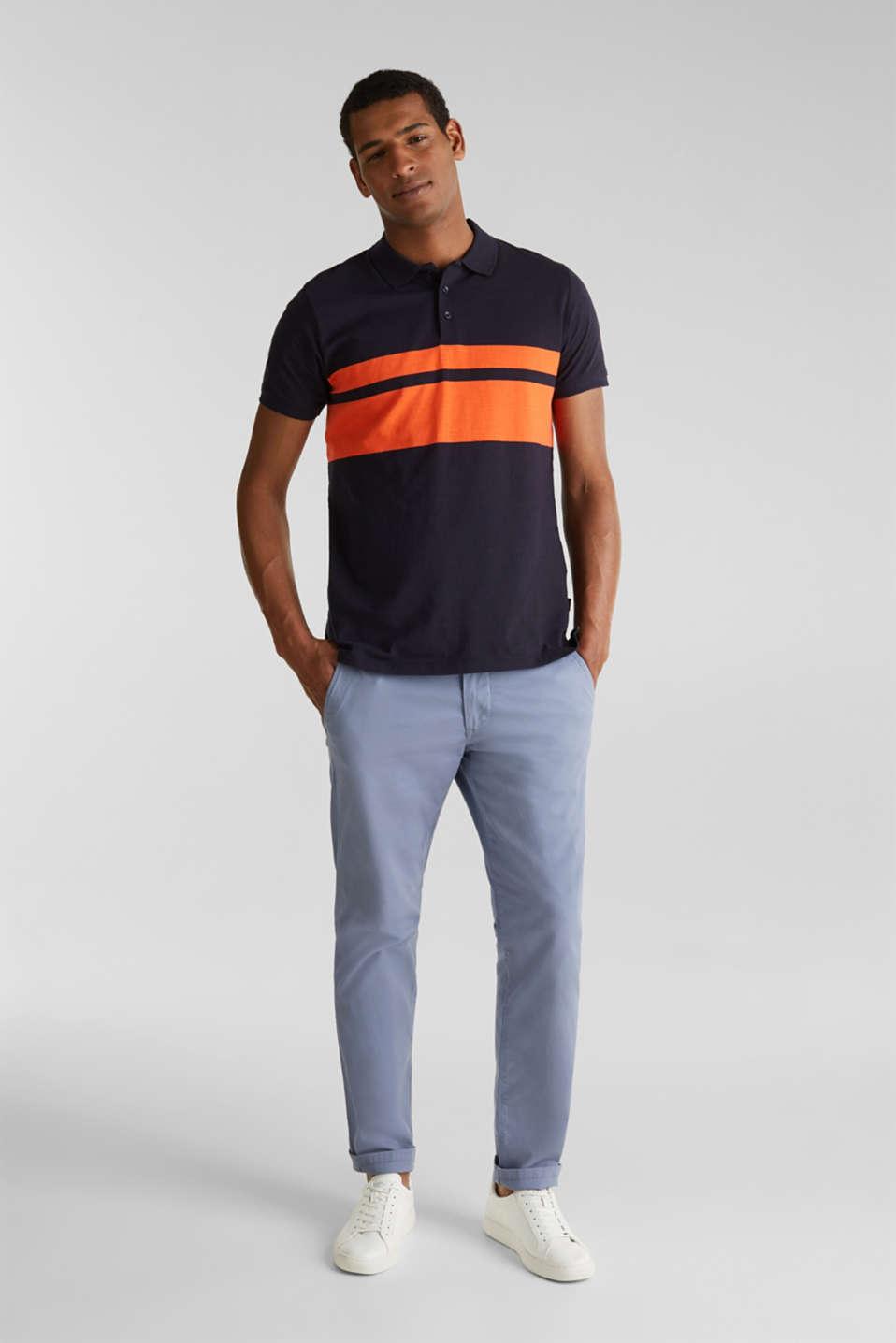Slub polo shirt with stripes, 100% organic cotton, NAVY 3, detail image number 2
