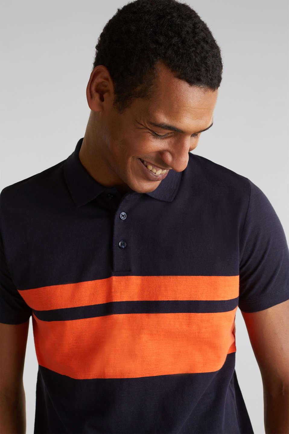 Slub polo shirt with stripes, 100% organic cotton, NAVY 3, detail image number 1