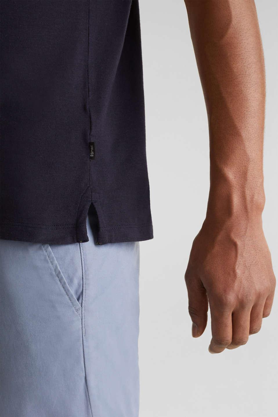 Slub polo shirt with stripes, 100% organic cotton, NAVY 3, detail image number 6