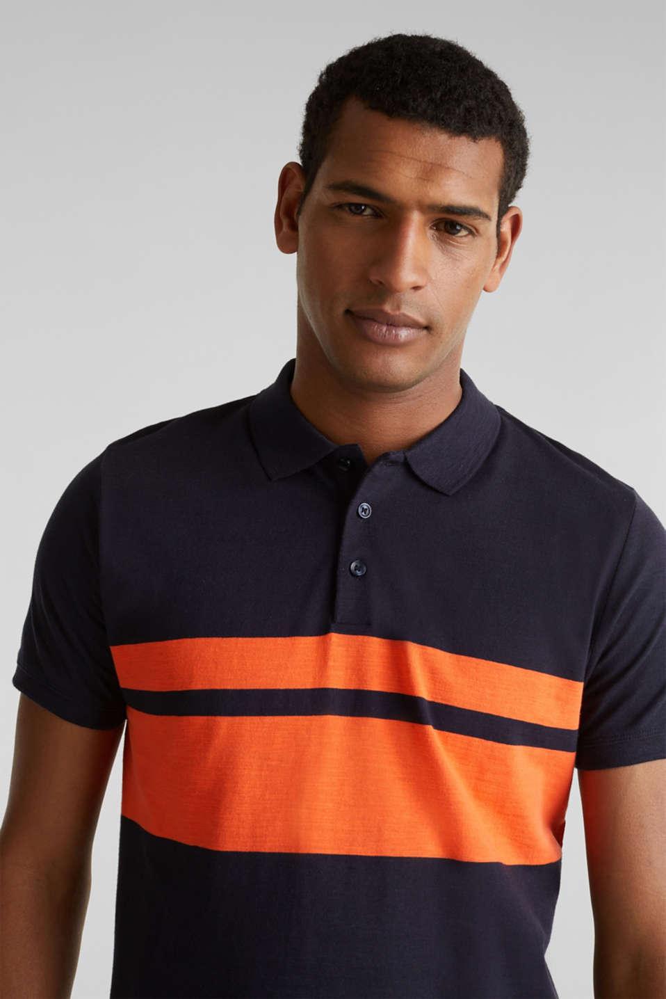 Slub polo shirt with stripes, 100% organic cotton, NAVY 3, detail image number 5