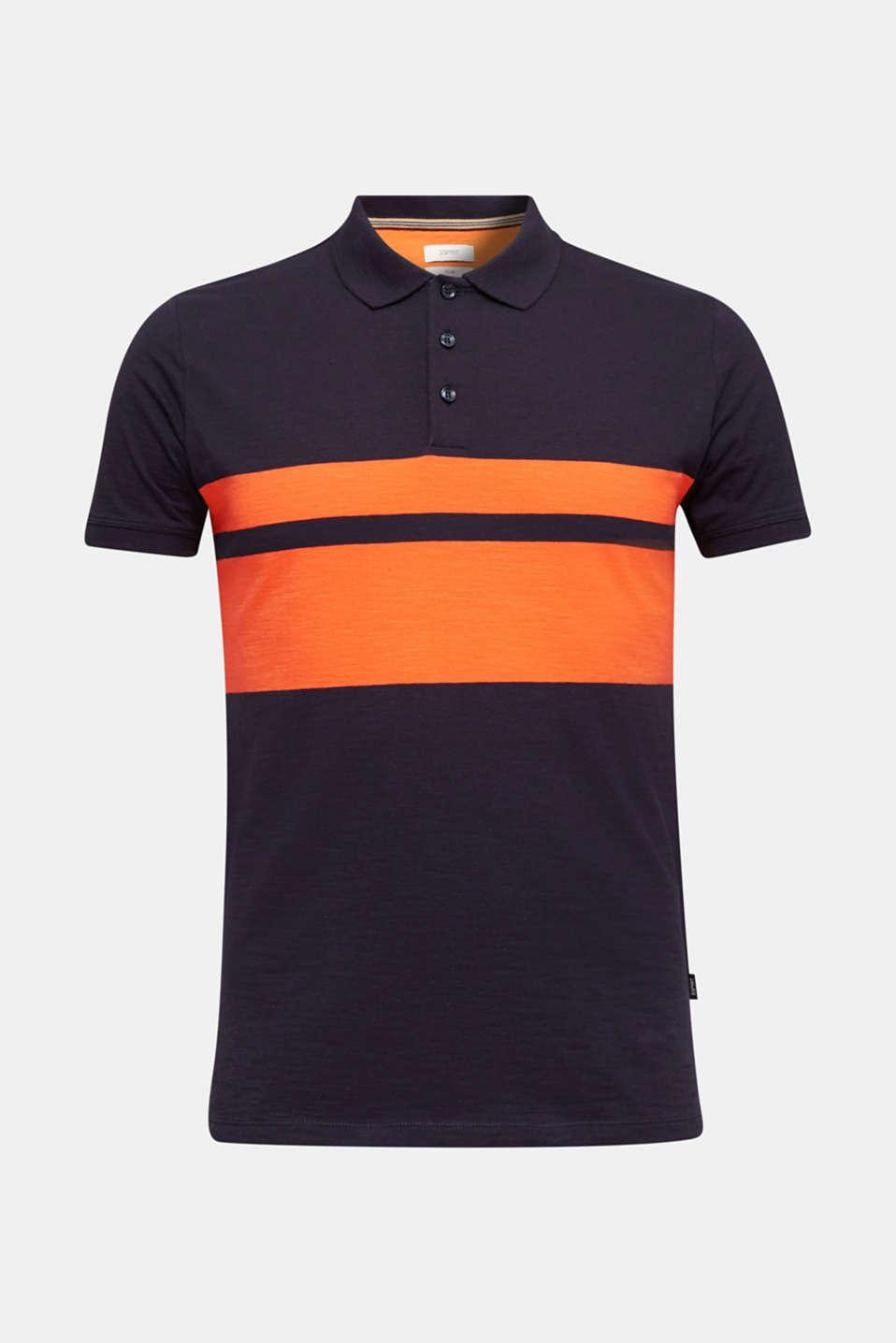 Slub polo shirt with stripes, 100% organic cotton, NAVY 3, detail image number 7
