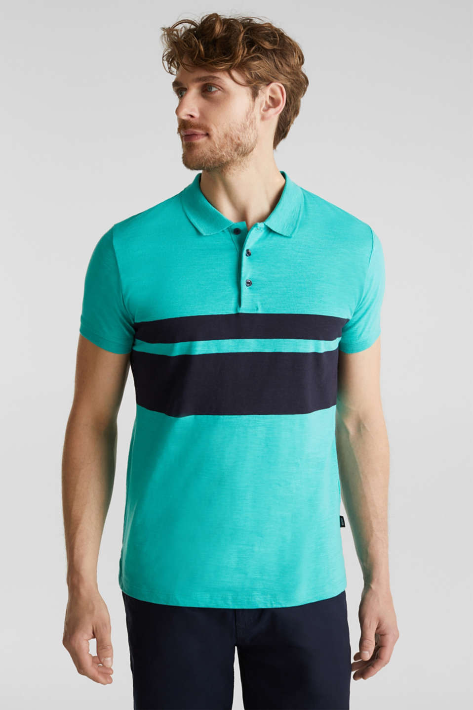 Jersey polo shirt, organic cotton, LIGHT TURQUOISE 3, detail image number 0
