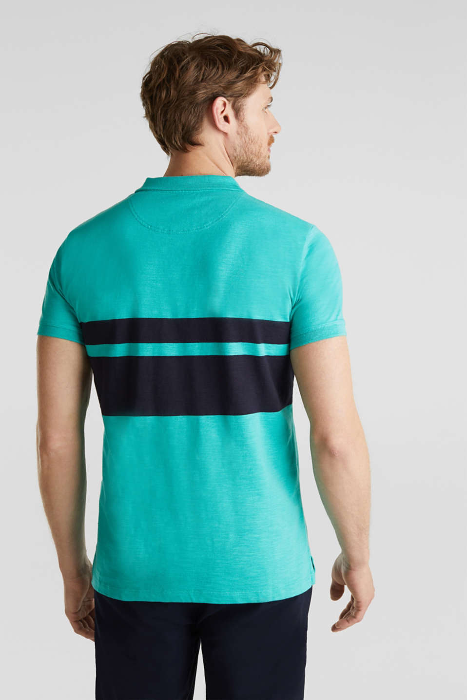 Slub polo shirt with stripes, 100% organic cotton, LIGHT TURQUOISE 3, detail image number 3
