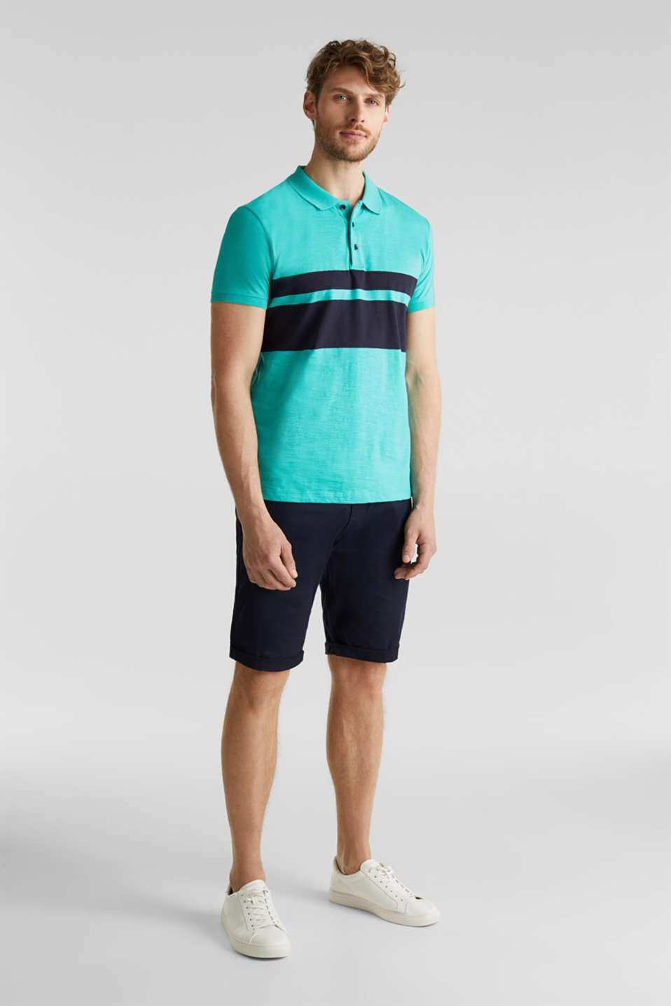 Slub polo shirt with stripes, 100% organic cotton, LIGHT TURQUOISE 3, detail