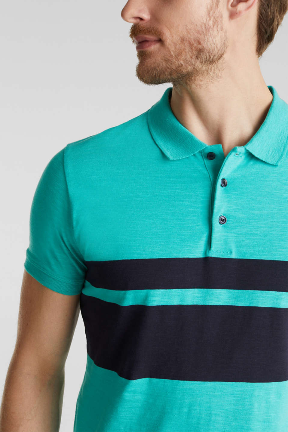 Slub polo shirt with stripes, 100% organic cotton, LIGHT TURQUOISE 3, detail image number 1