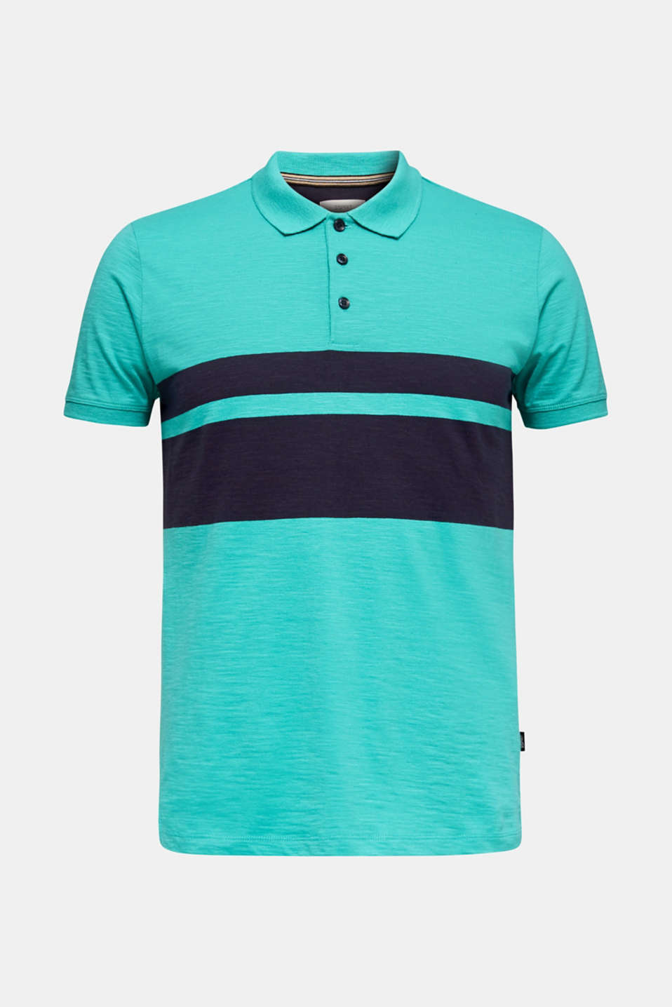 Slub polo shirt with stripes, 100% organic cotton, LIGHT TURQUOISE 3, detail image number 7