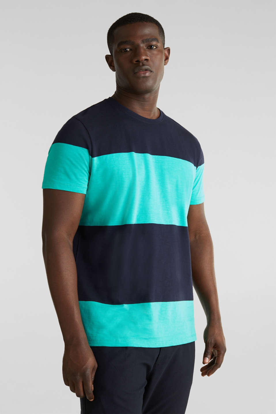Slub jersey T-shirt in 100% cotton, LIGHT TURQUOISE 3, detail image number 0