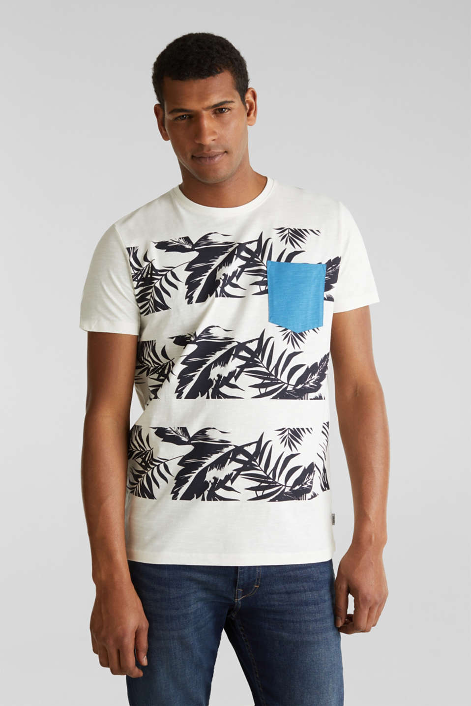 Printed jersey top with a pocket, 100% organic cotton, OFF WHITE 4, detail image number 0