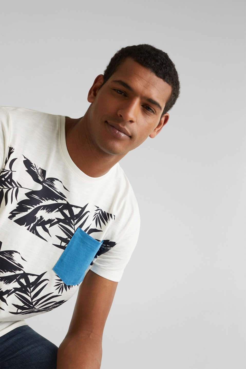 Printed jersey top with a pocket, 100% organic cotton, OFF WHITE 4, detail image number 5