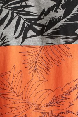 Jersey top with a colour block print, RUST ORANGE 3, detail