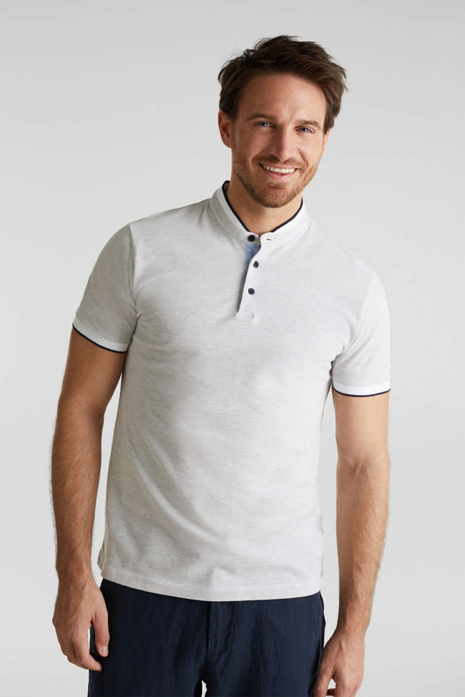 Piqué polo shirt with a stand-up collar, WHITE 2, detail image number 0