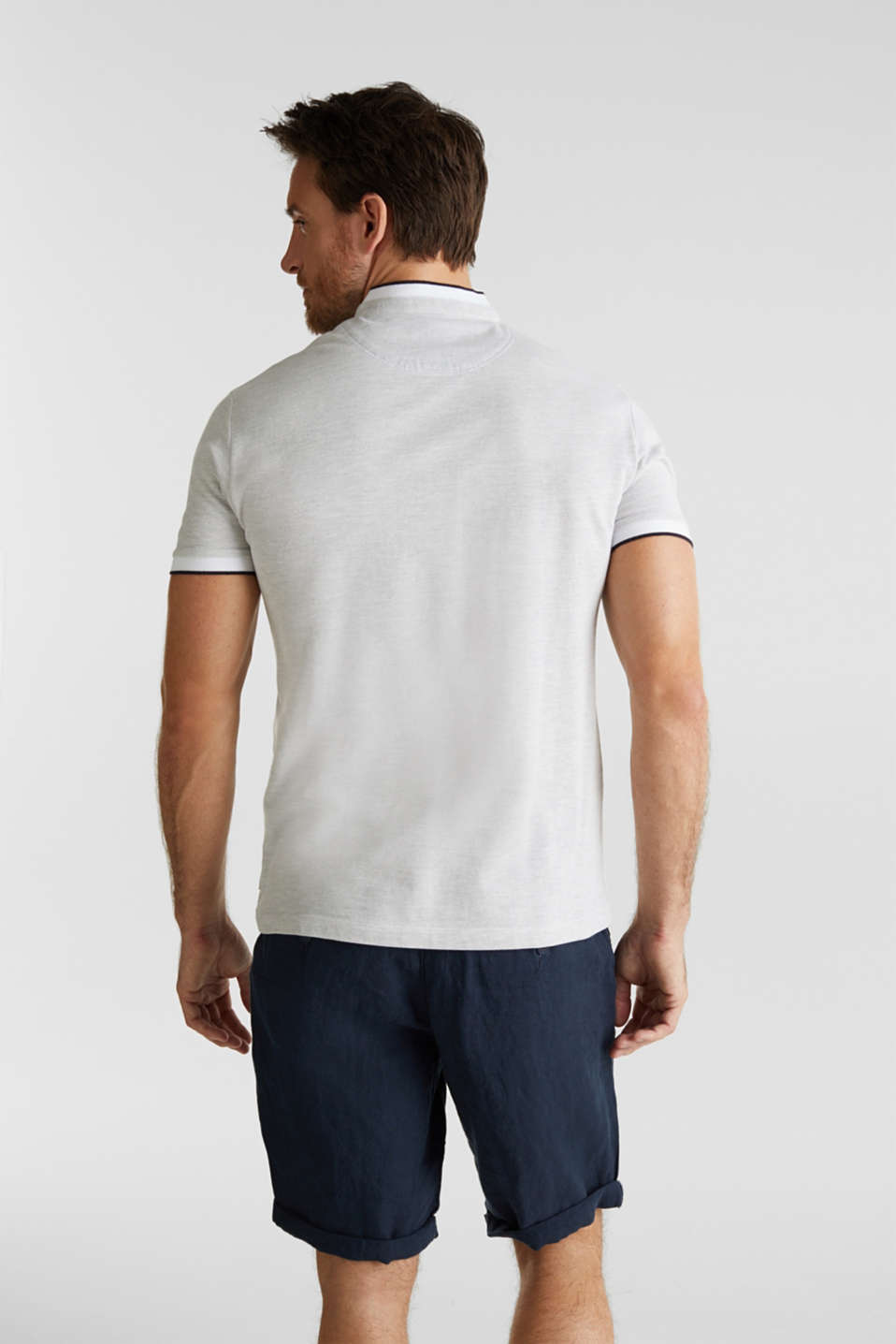 Piqué polo shirt with a stand-up collar, WHITE 2, detail image number 3