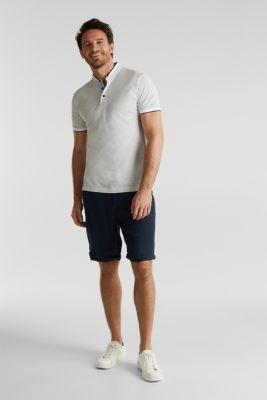 Piqué polo shirt with a stand-up collar, WHITE 2, detail