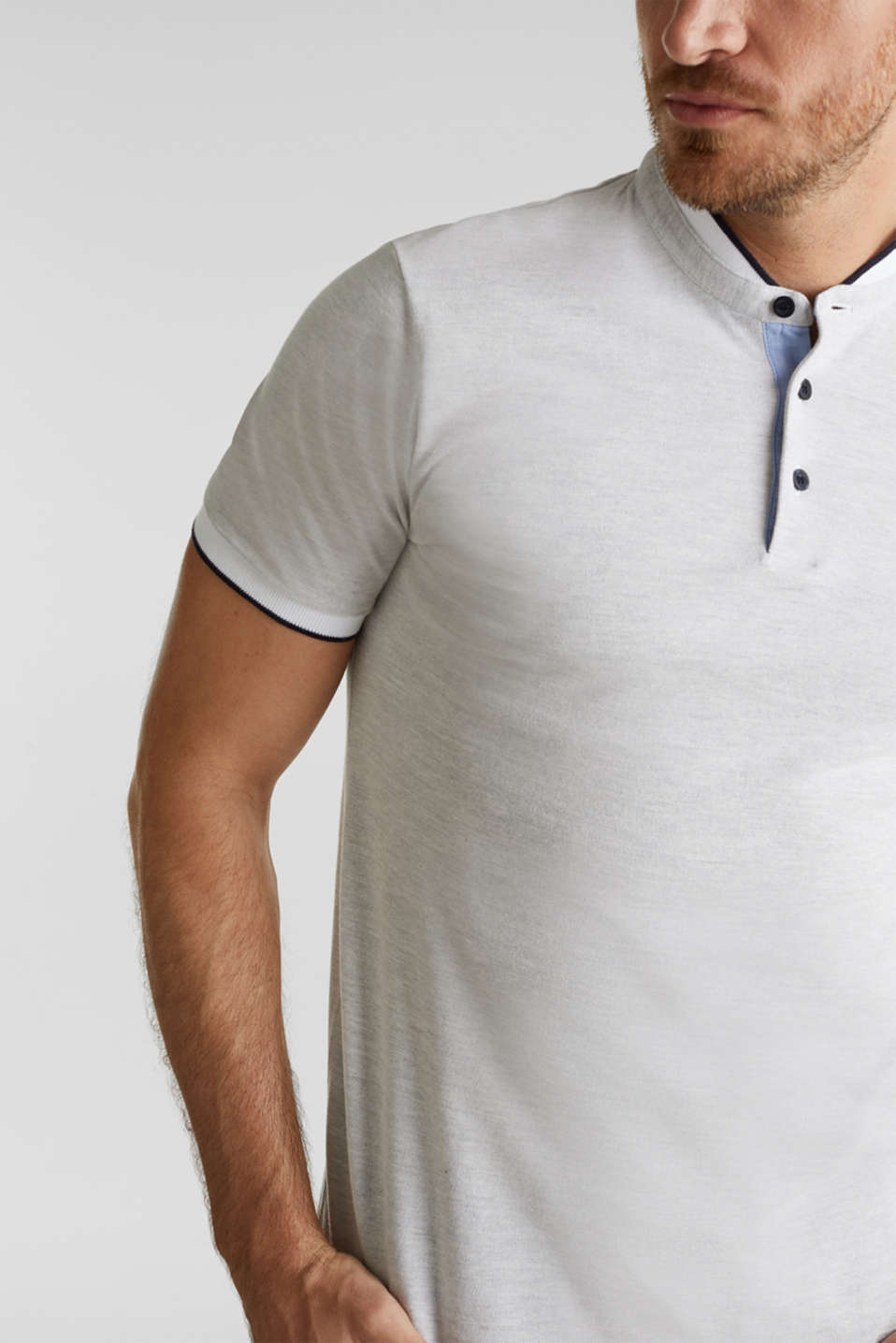 Piqué polo shirt with a stand-up collar, WHITE 2, detail image number 1