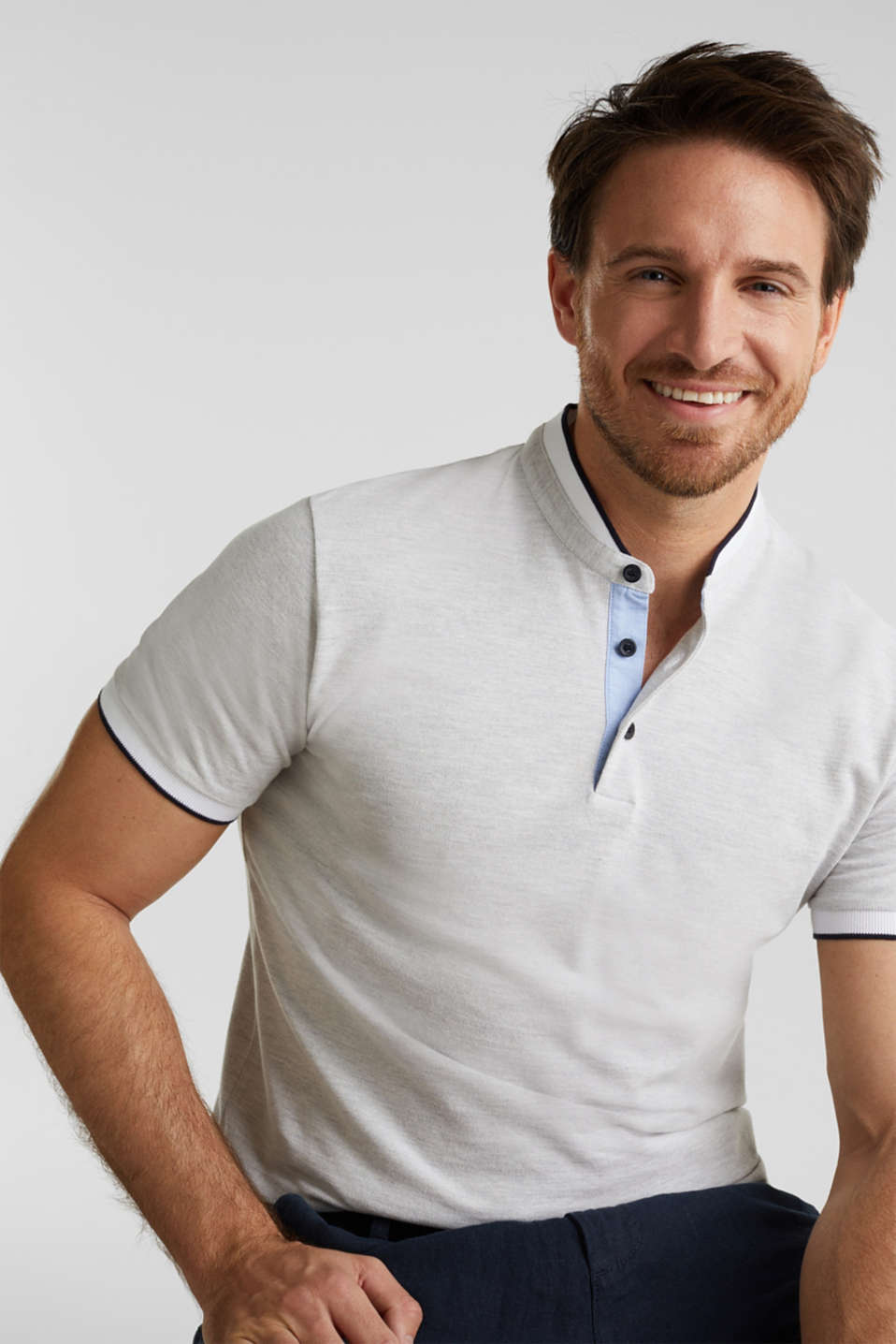 Piqué polo shirt with a stand-up collar, WHITE 2, detail image number 5