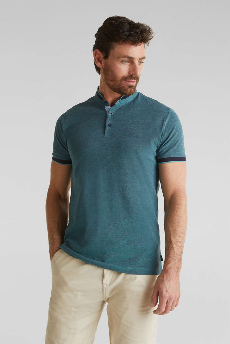 Piqué polo shirt with a stand-up collar, TEAL GREEN 2, detail image number 0