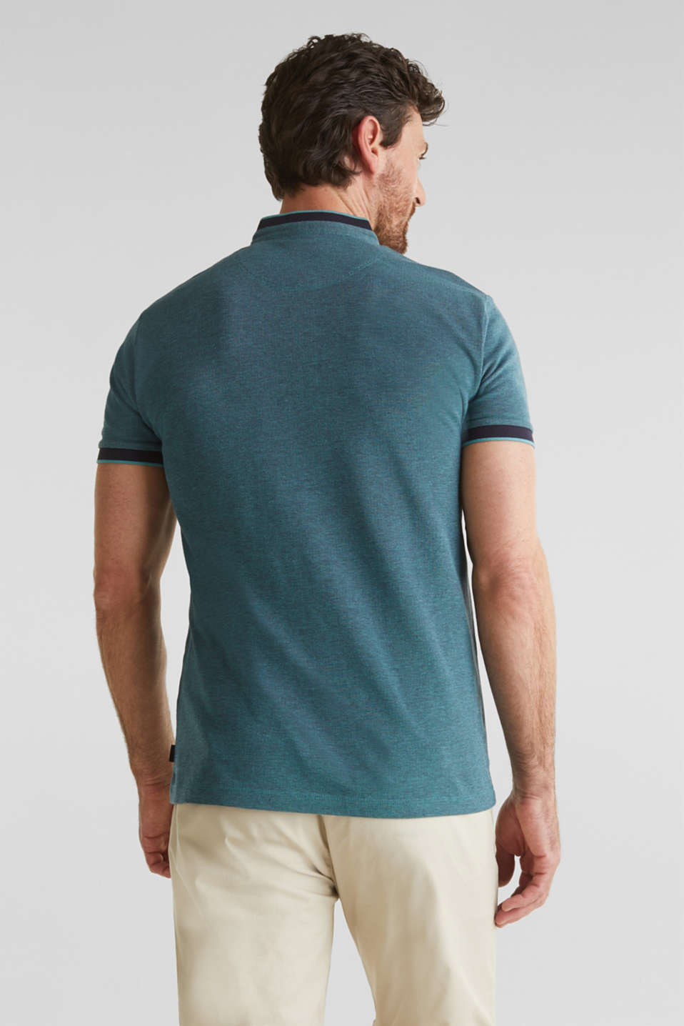Piqué polo shirt with a stand-up collar, TEAL GREEN 2, detail image number 3