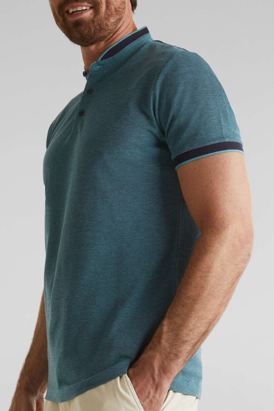 Piqué polo shirt with a stand-up collar, TEAL GREEN 2, detail image number 1
