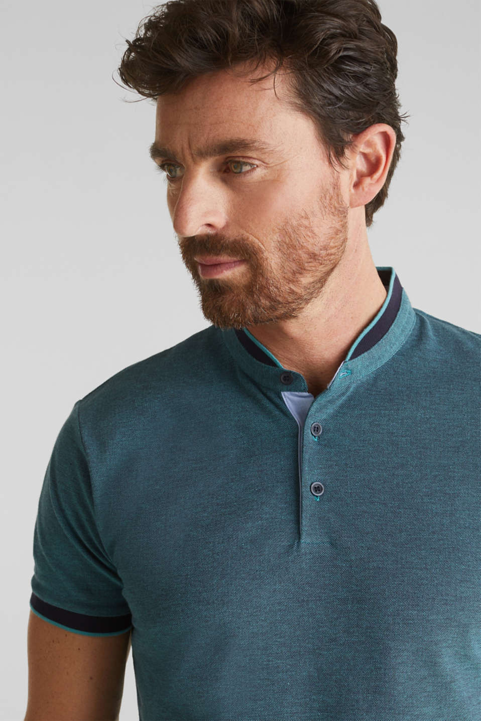 Piqué polo shirt with a stand-up collar, TEAL GREEN 2, detail image number 5