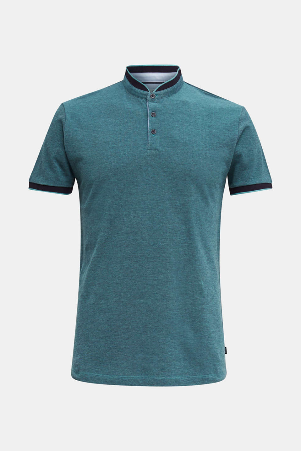 Piqué polo shirt with a stand-up collar, TEAL GREEN 2, detail image number 6