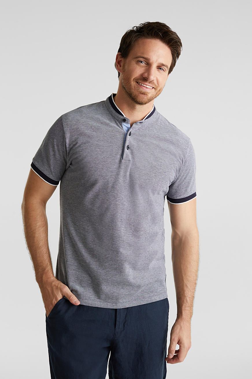 Piqué polo shirt with a stand-up collar