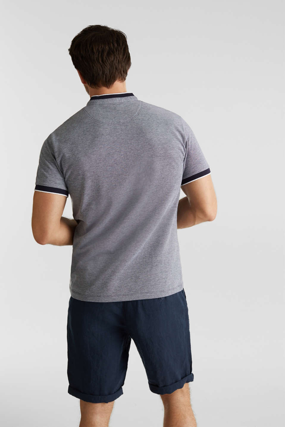 Piqué polo shirt with a stand-up collar, NAVY 2, detail image number 3