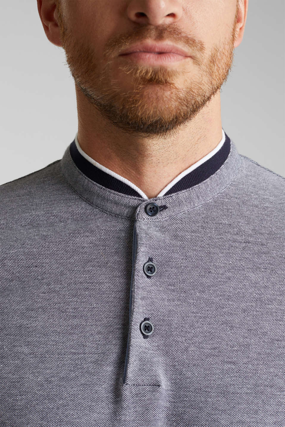 Piqué polo shirt with a stand-up collar, NAVY 2, detail image number 1