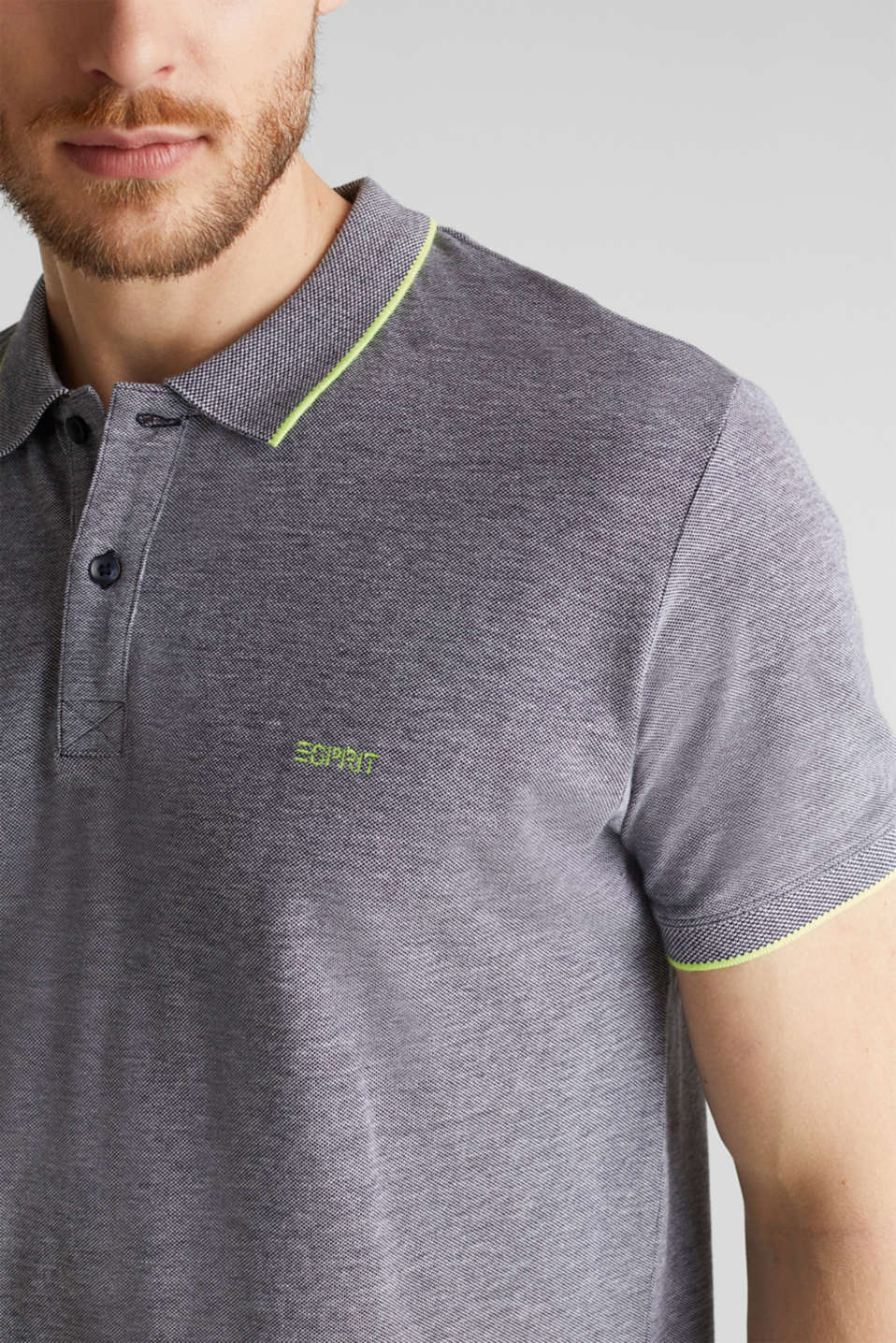 Piqué polo shirt, 100% organic cotton, NAVY, detail image number 1