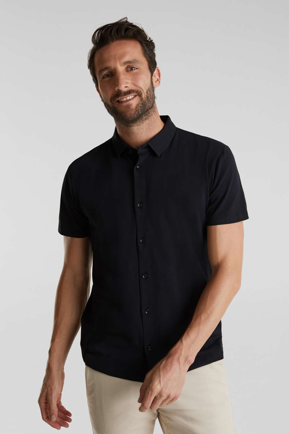 Jersey shirt with organic cotton, BLACK, detail image number 0