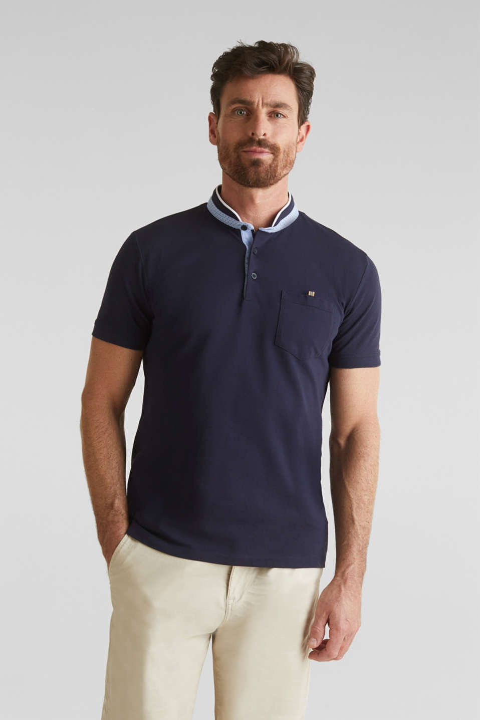 Stretch cotton piqué polo shirt, NAVY, detail image number 0