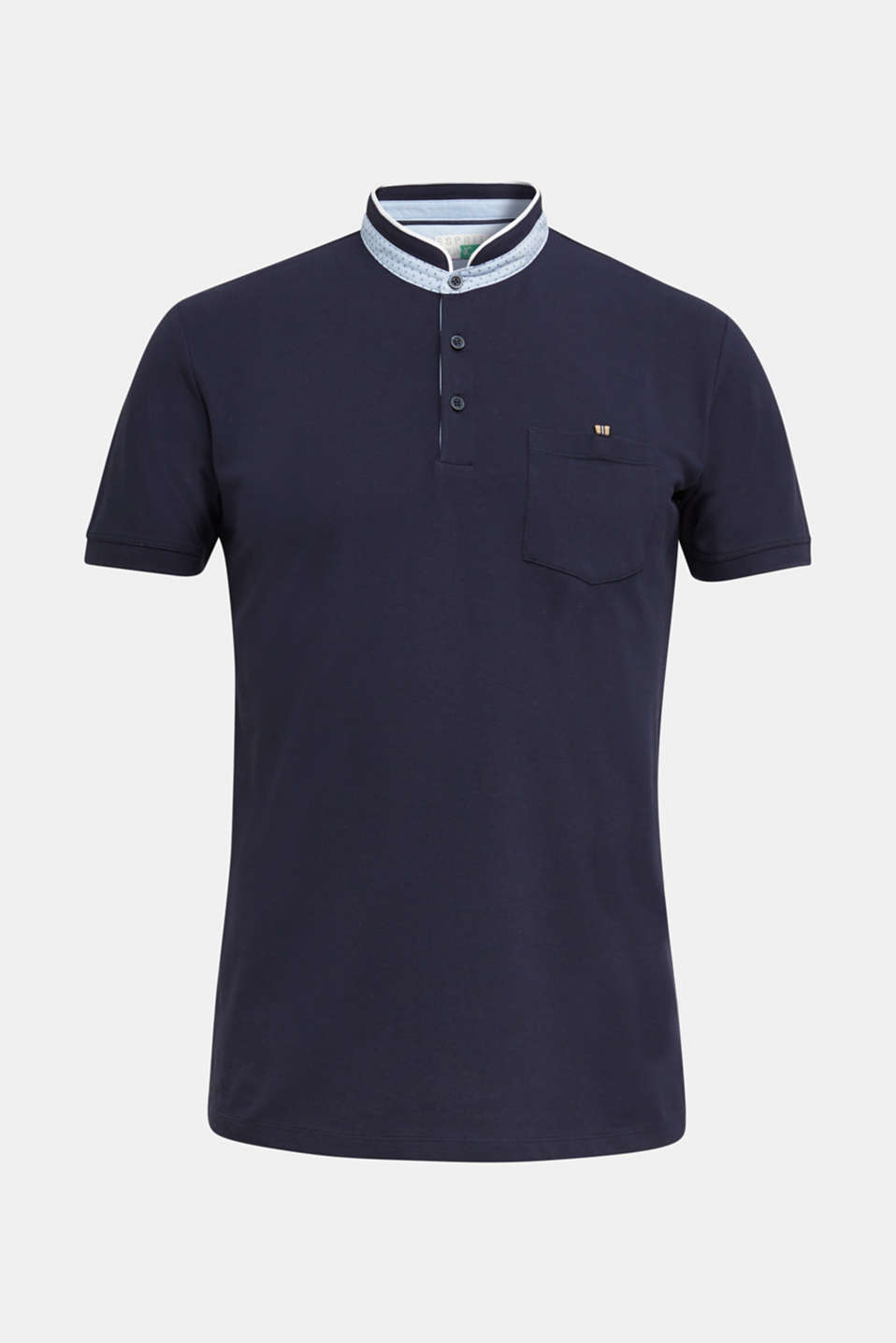 Stretch cotton piqué polo shirt, NAVY, detail image number 6