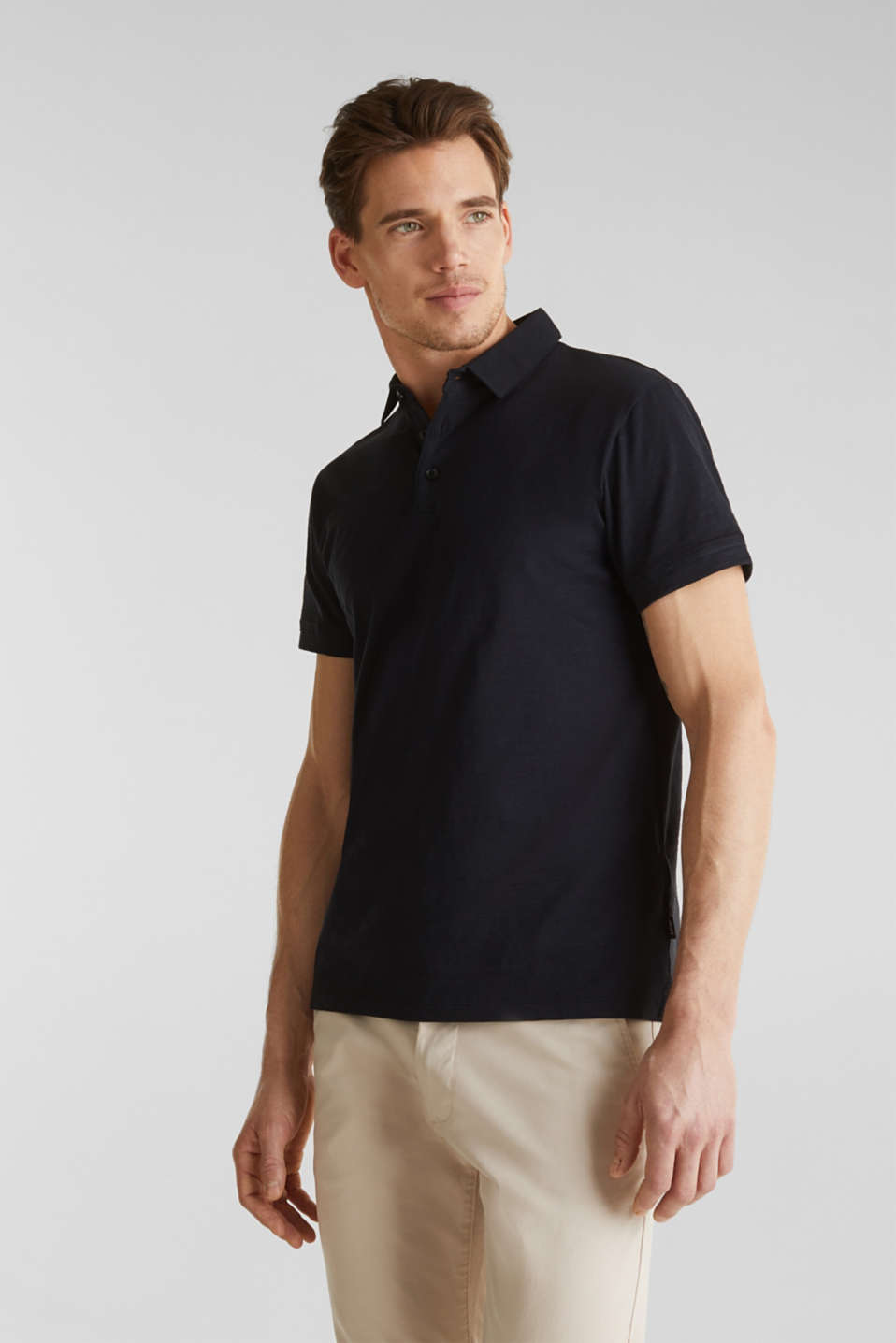 Slub jersey polo shirt, 100% cotton, BLACK, detail image number 0