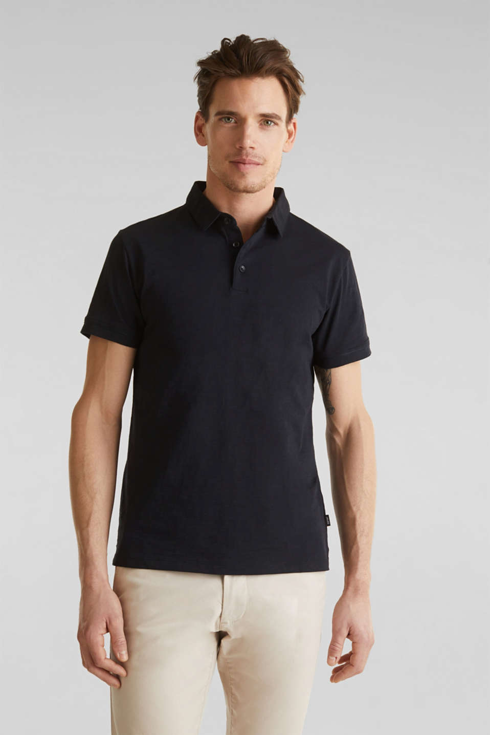 Slub jersey polo shirt, 100% cotton, BLACK, detail image number 4
