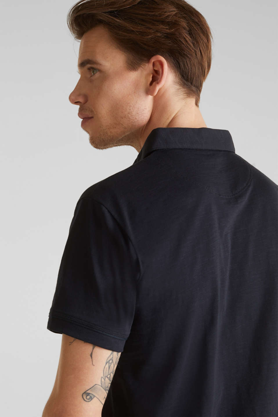 Slub jersey polo shirt, 100% cotton, BLACK, detail image number 6