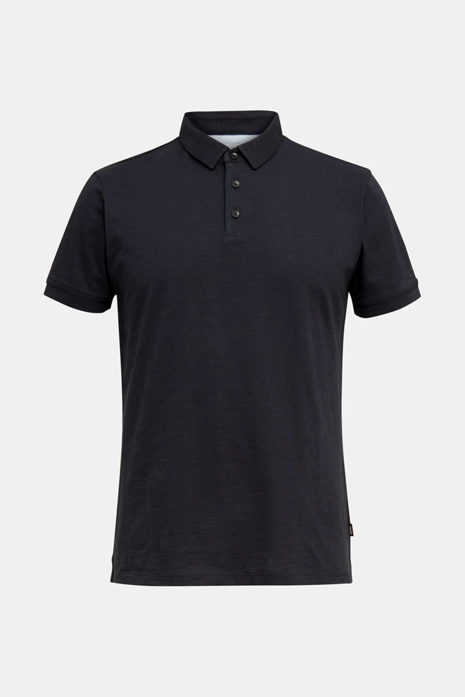 Slub jersey polo shirt, 100% cotton, BLACK, detail image number 7