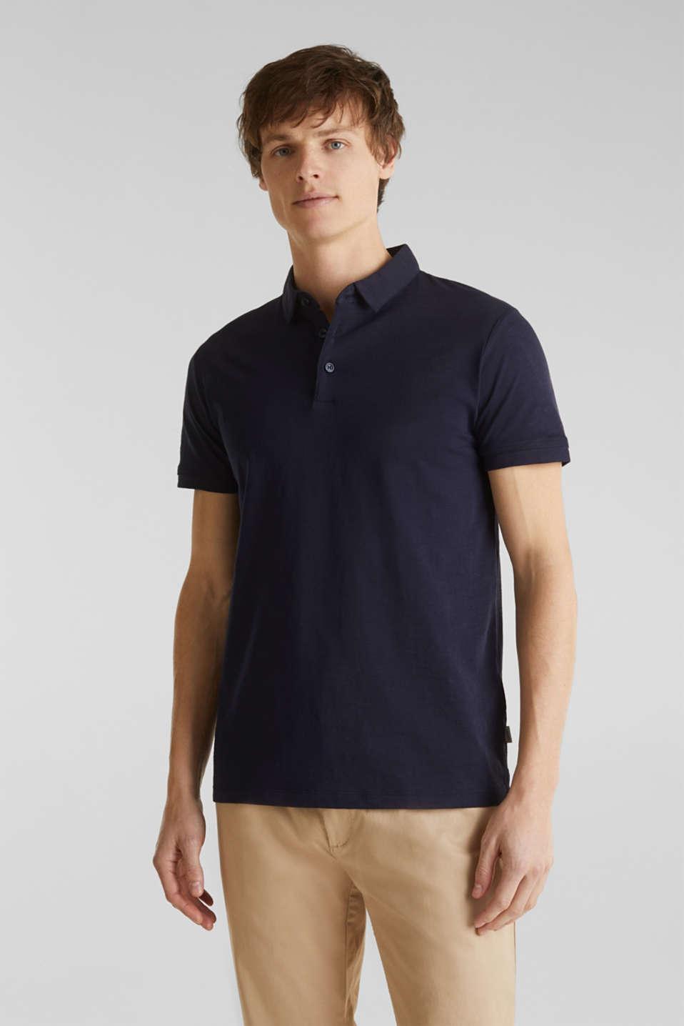 Slub jersey polo shirt, 100% cotton, NAVY, detail image number 0