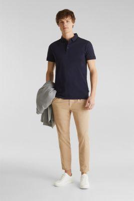 Slub jersey polo shirt, 100% cotton, NAVY, detail