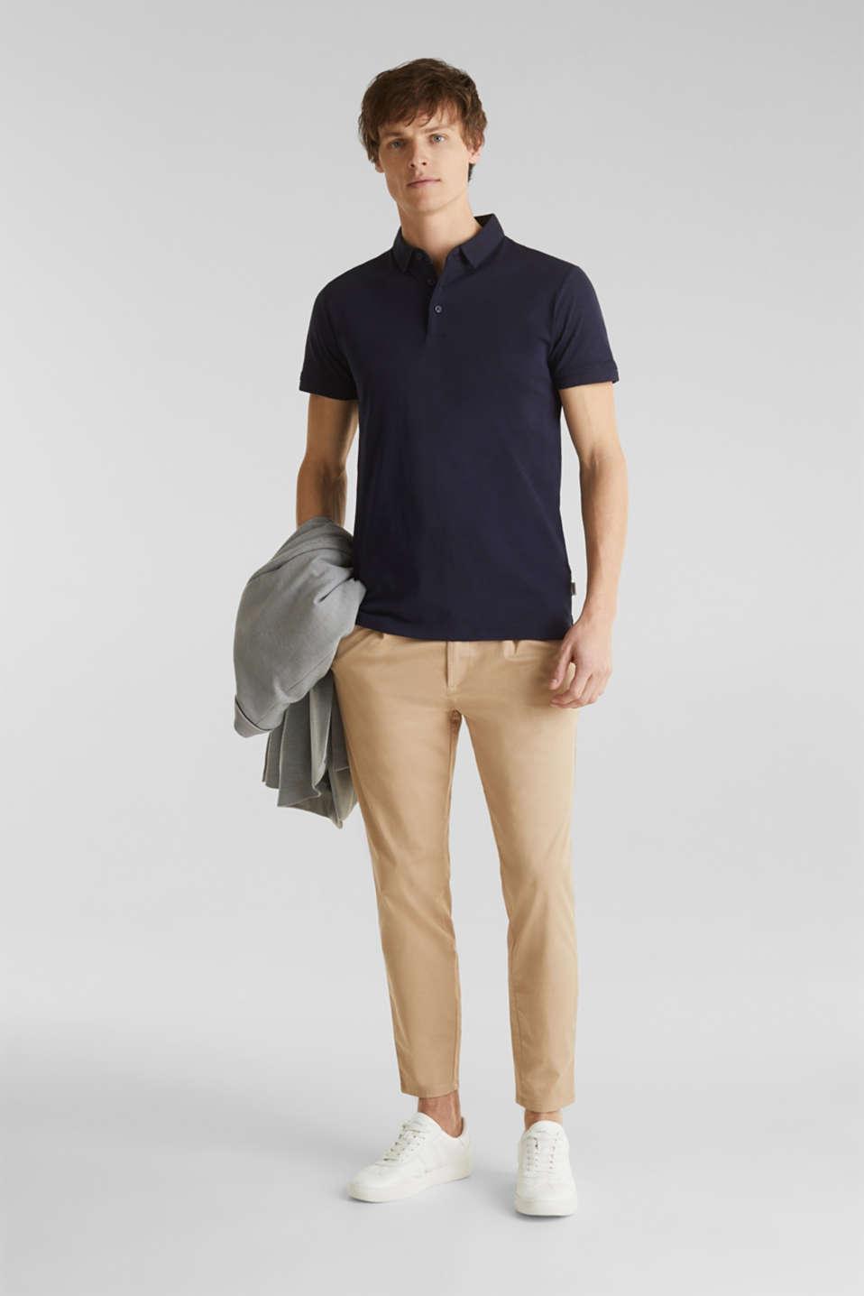 Slub jersey polo shirt, 100% cotton, NAVY, detail image number 2