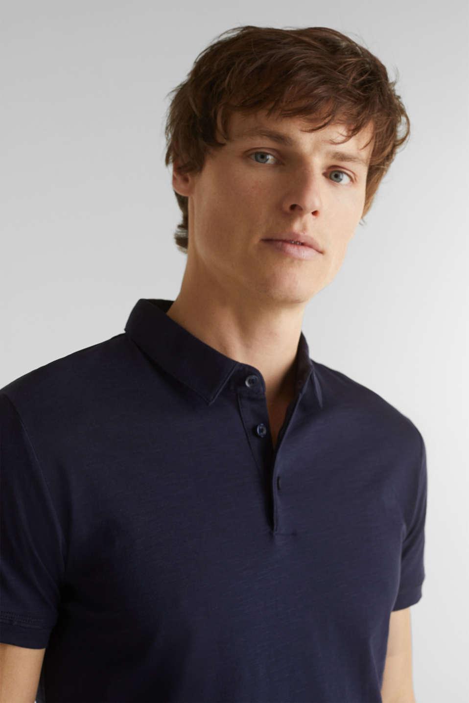 Slub jersey polo shirt, 100% cotton, NAVY, detail image number 5