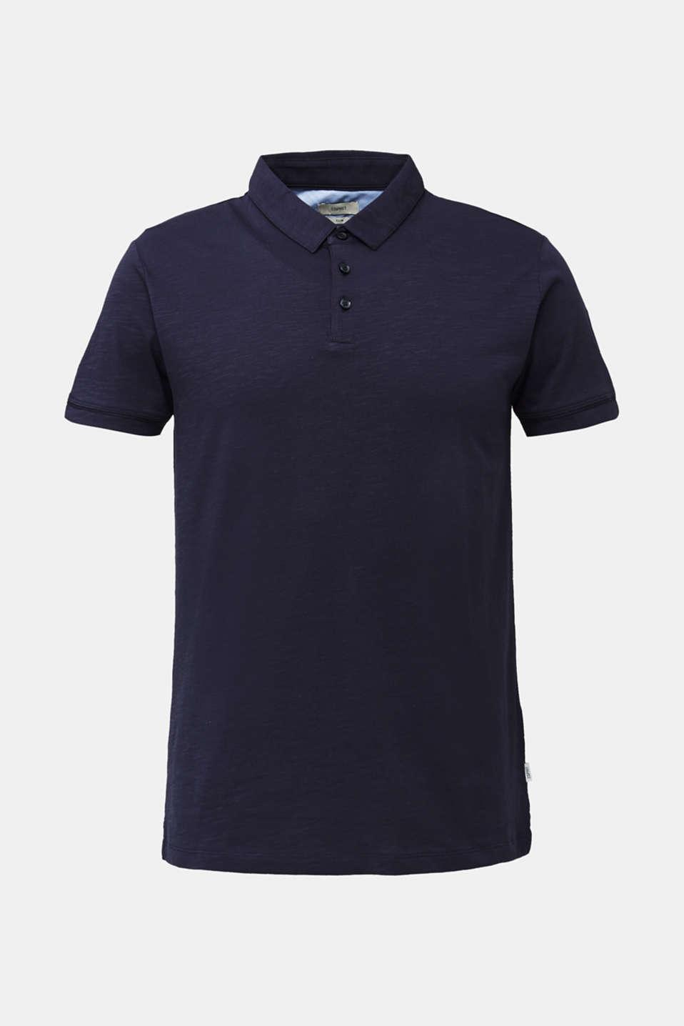 Slub jersey polo shirt, 100% cotton, NAVY, detail image number 6