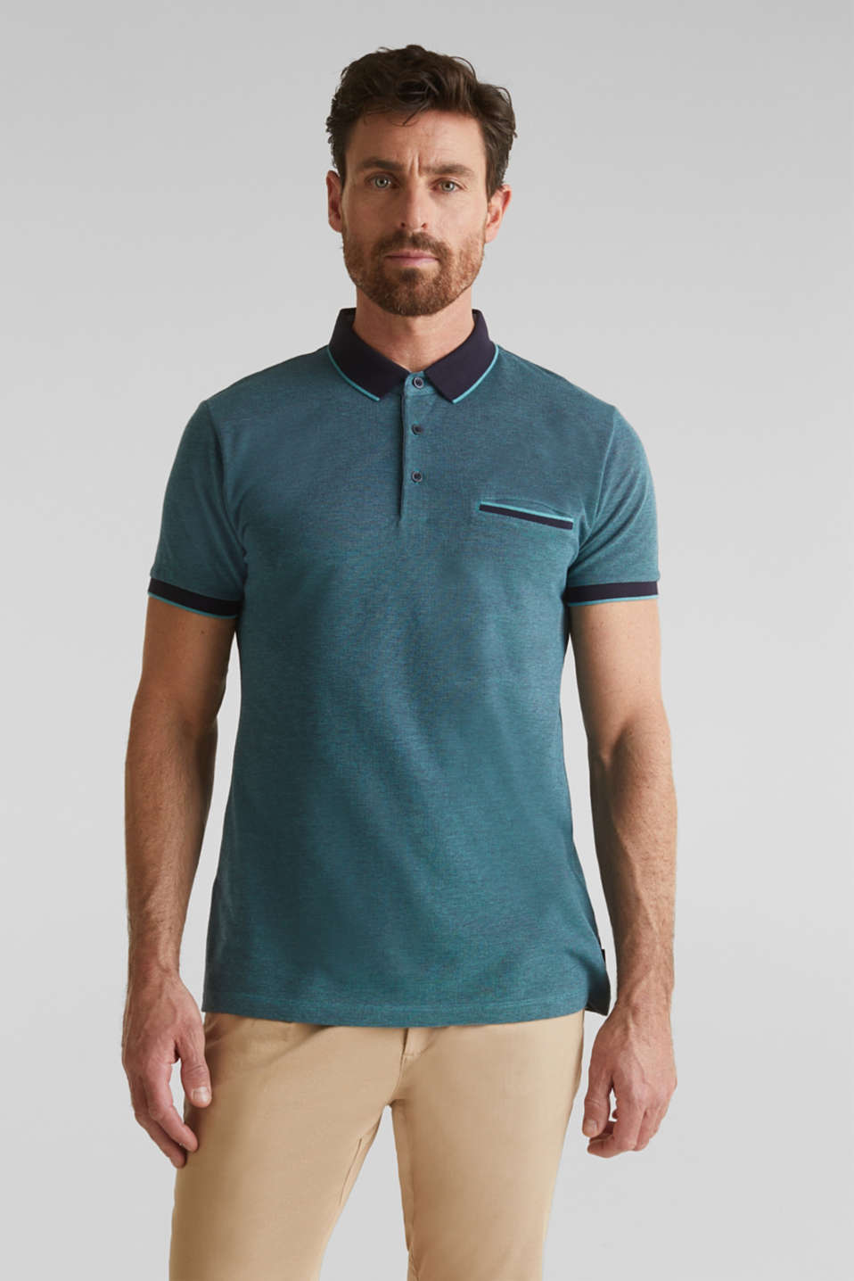 Piqué polo shirt made of 100% organic cotton, TEAL GREEN 2, detail image number 0