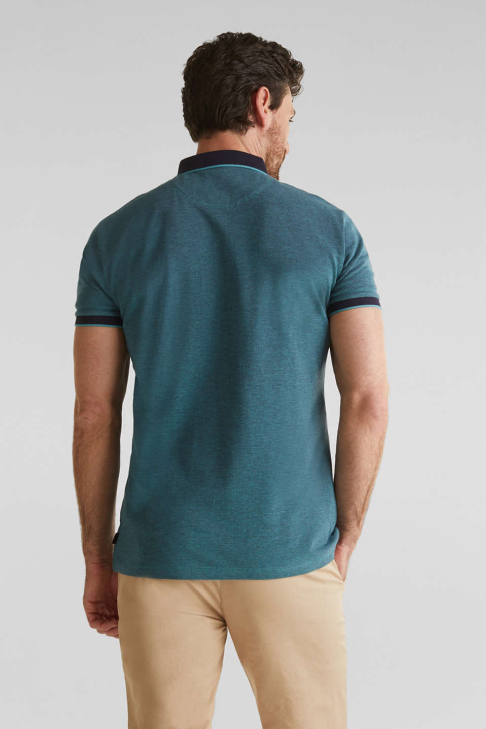 Piqué polo shirt made of 100% organic cotton, TEAL GREEN 2, detail image number 3