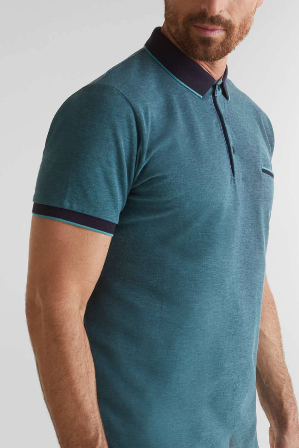 Piqué polo shirt made of 100% organic cotton, TEAL GREEN 2, detail image number 1
